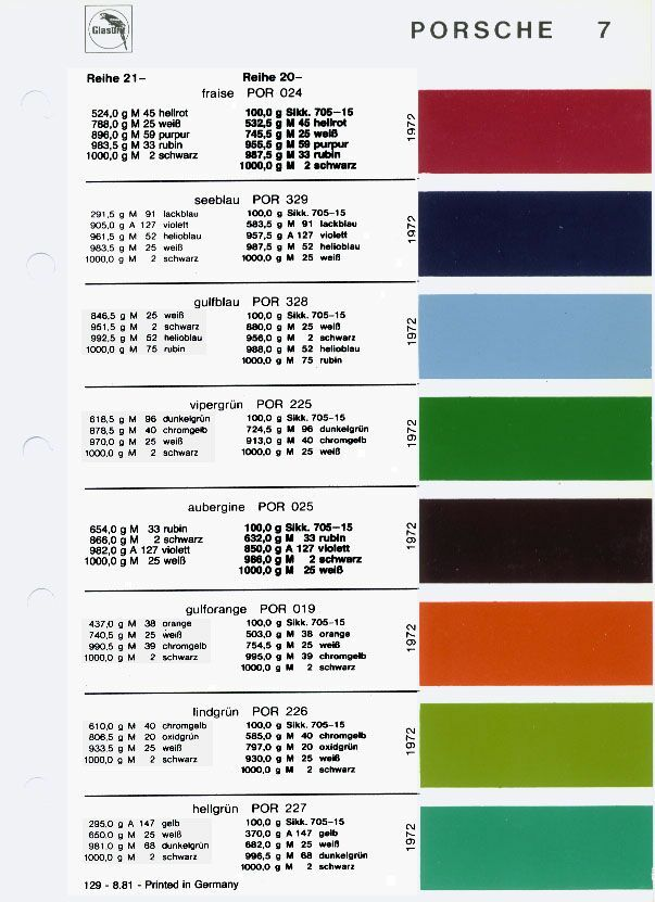 Glasurit Color Codes And Samples For 1966 Luliming Pinterest