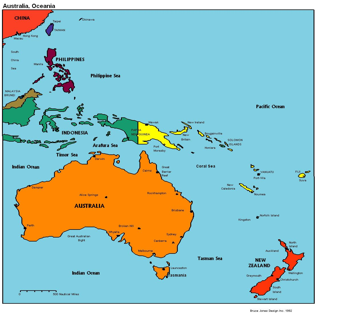 Fiji Island Location World Map.Map Of Australia Fiji Kirbati Marshall Islands Papa New Guinea