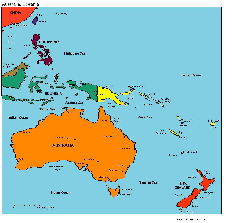 Map of Australia Fiji Kirbati Marshall Islands Papa New Guinea