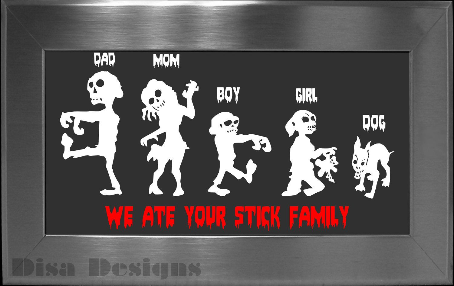 Your choice of 5 zombie family vinyl decals please read description for ordering instructions car decal stick family decal halloween