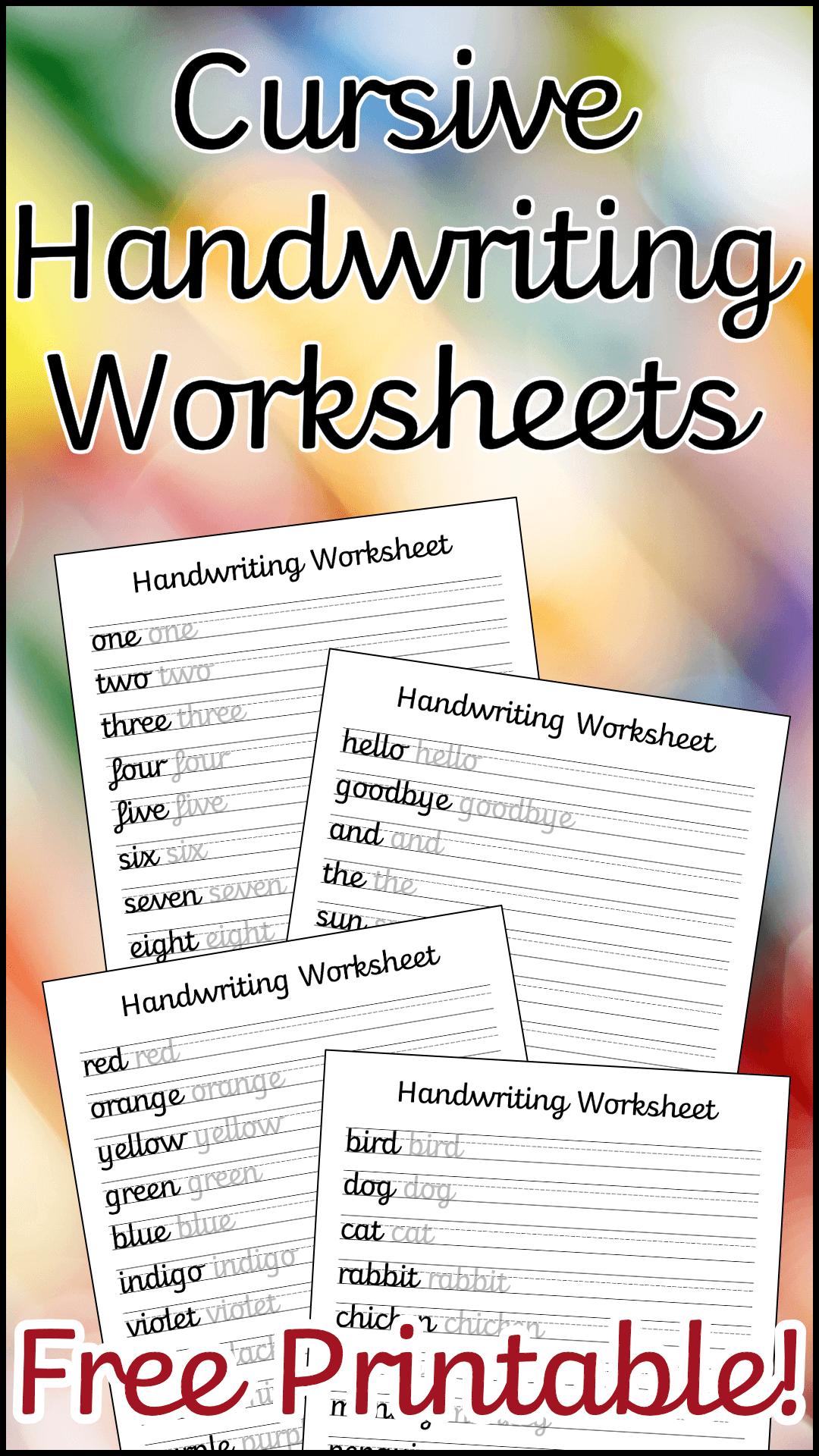 Cursive Handwriting Worksheets Free Printable In