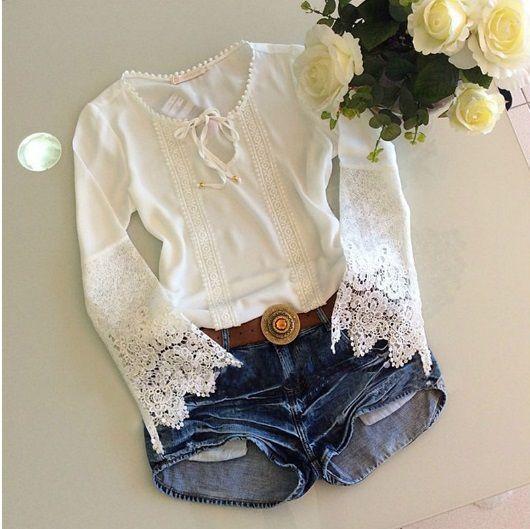 Conjuto blusa rendada + Short Jeans - Boutique Três Irmãos