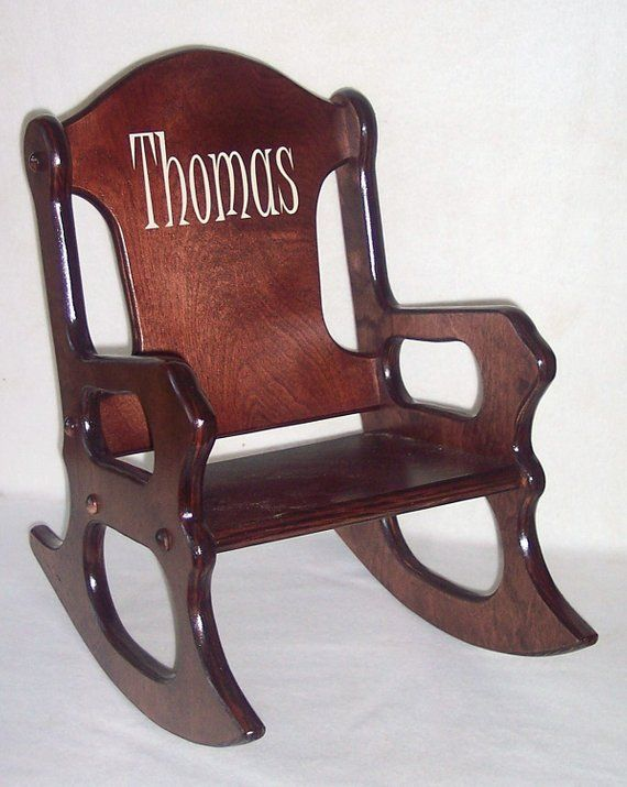 Wooden Kids Rocking Chair Personalized Sports Cherry Finish In
