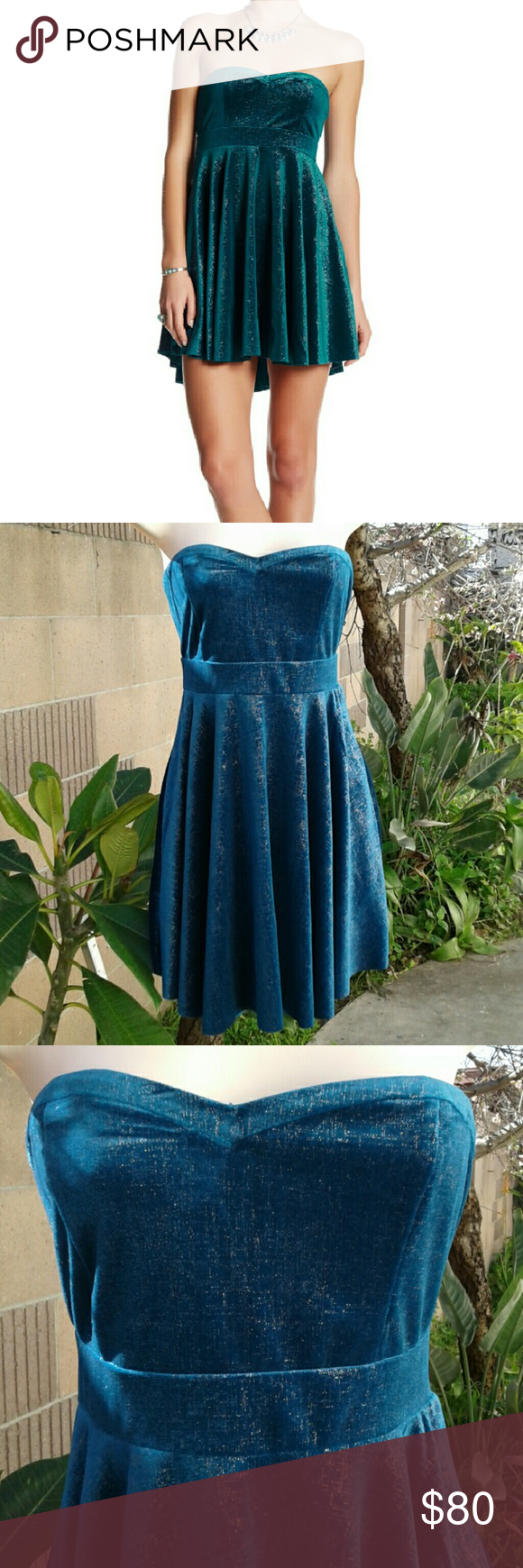 Free People velvet dress Free People velvet dress. Color is more turquoise (greenish/blue). Gorgeous dress!! New with tags. Free People Dresses