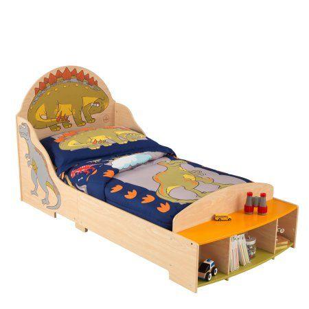 Kidkraft Wooden Dinosaur Toddler Bed With Bench And Storage Childrens Bedroom Furniture Walmart Com Toddler Bed Frame Dinosaur Toddler Bedding Childrens Bedroom Furniture