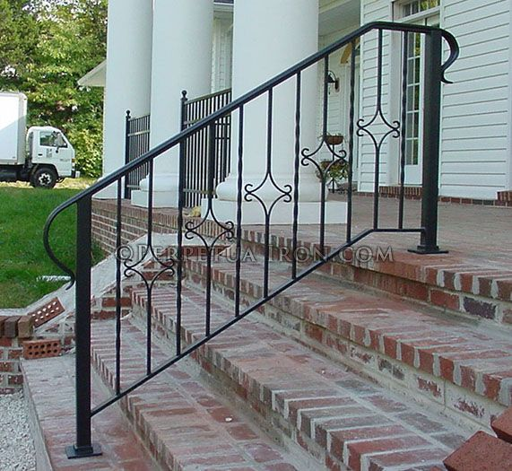 Exterior Hand Rail Wrought Iron Formed Alternating Diamonds