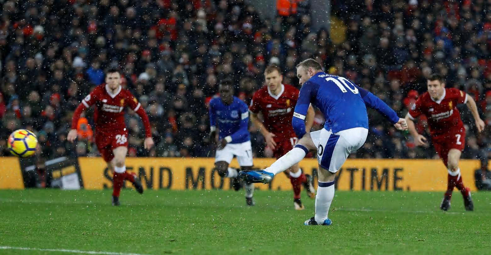 2659e78fd 10 December 2017 Rooney (Pen) v Liverpool (A) Wayne Rooney fires home