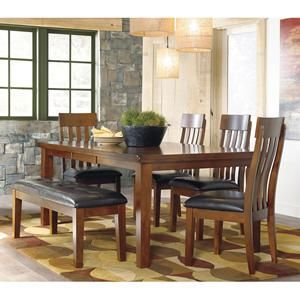 6 Piece Ralene Dining Set Nebraska Furniture Mart Upholstered Dining Side Chair Brown Dining Table Side Chairs Dining