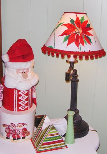 Christmas Lamp Shade From A Vintage Tablecloth