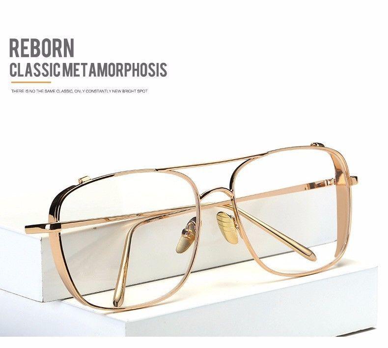 luxury eyeglasses frames men gold metal flat top big glasses optical frames 2017 - Ebay Glasses Frames