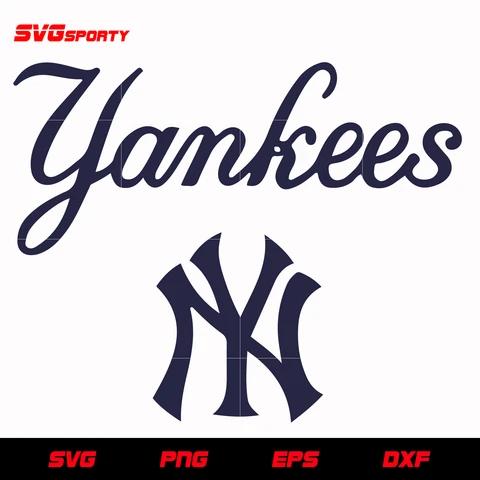 New York Yankees Text Logo Svg Mlb Svg Eps Dxf Png Digital File Text Logo New York Yankees Logo New York Yankees