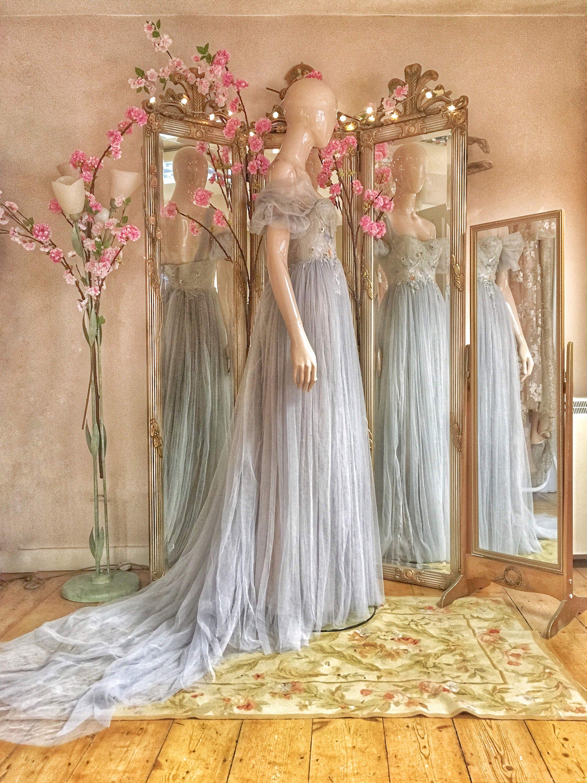 Silver grey tulle wedding dress in fancy dresses pinterest