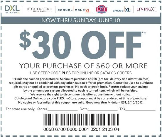 30 Off Purchase At Casual Male Xl Coupon Printable Coupons Clothing Coupons Coupons
