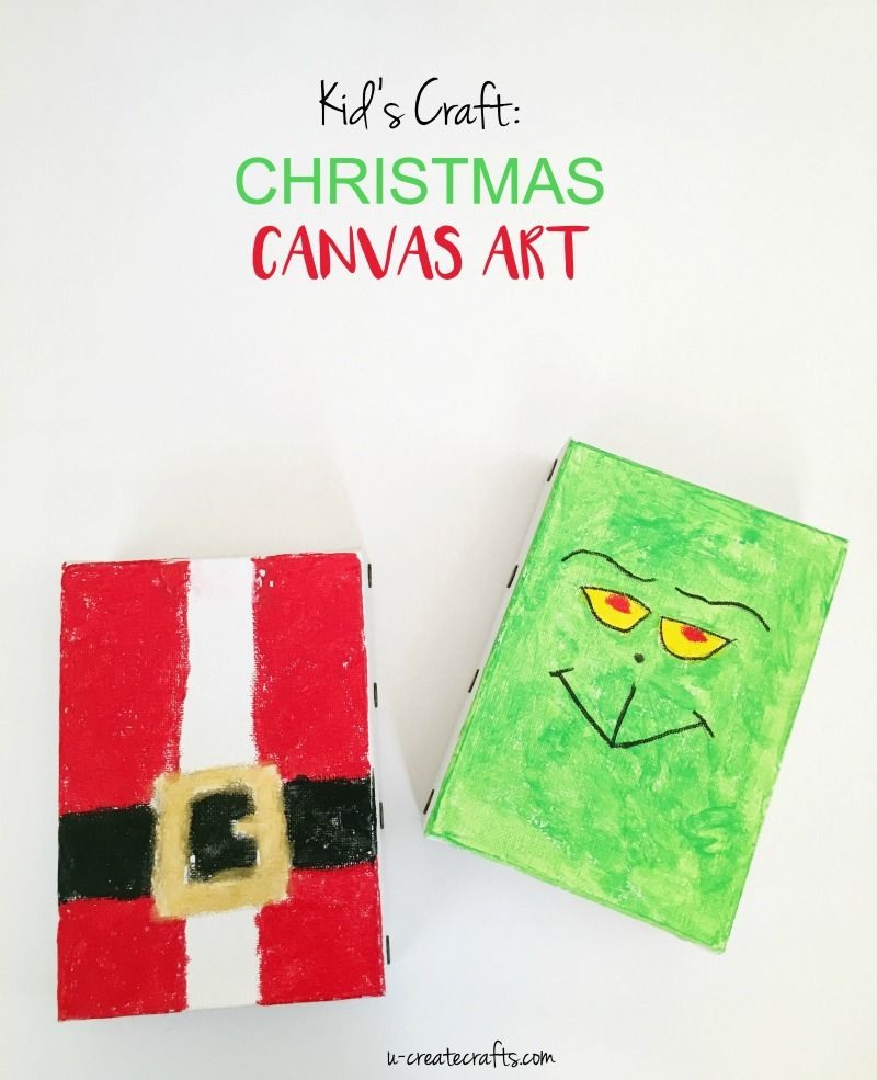 Christmas Paintings For Kids On Canvas.Diy Christmas Canvas Art Kids Crafts Christmas Paintings