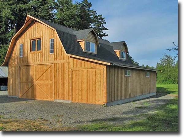 Shed roof attached to gambrel barn 32 39 x 40 39 gambrel for Gambrel pole barn plans