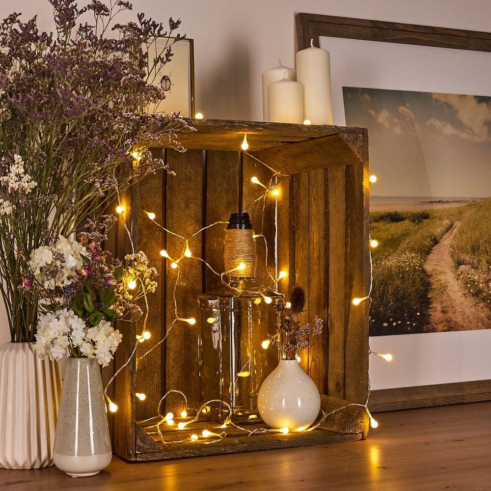 Lichterkette im Wohnzimmer dekorieren in 10  Lichterketten