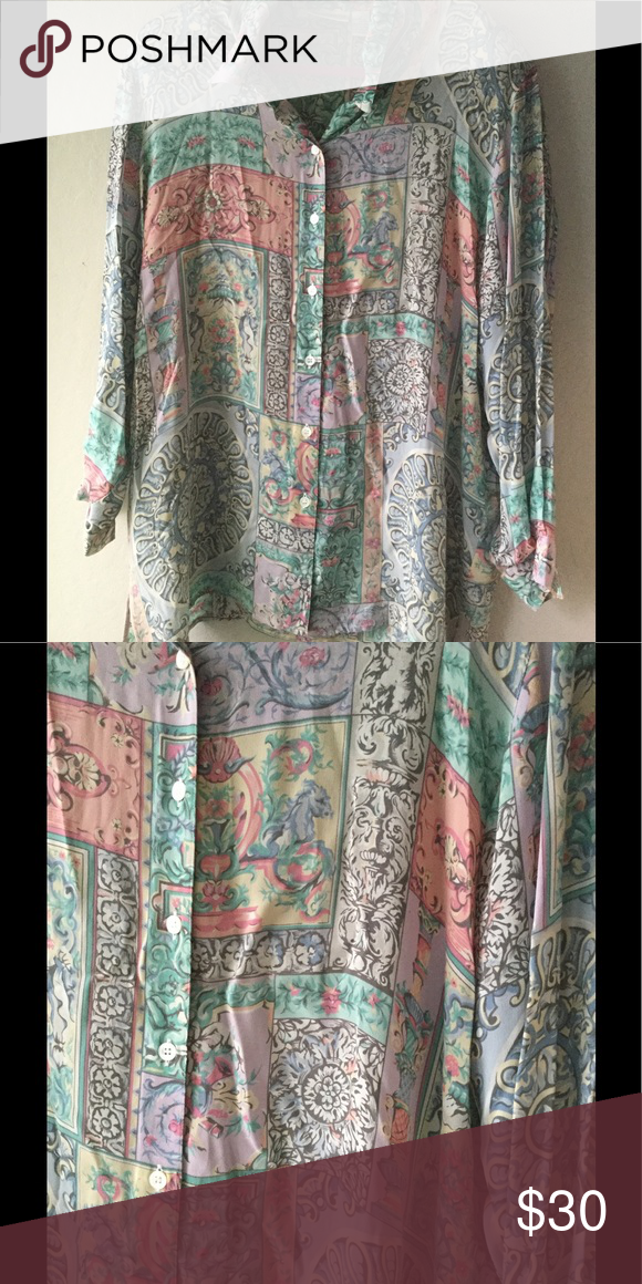 Green and multicolor button down shirt Liz Clairborne button down shirt with multicolor vintage design. Gently used, like new Liz Claiborne Tops Button Down Shirts