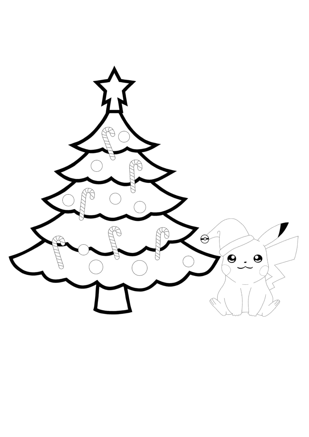 Pikachu and Christmas Tree Coloring Pages - 2 Free ...
