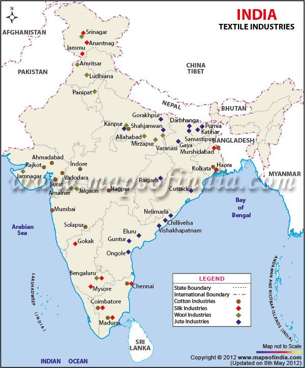 industrial map of india India Textile Industries Map Textile Industry In India India Textiles Textile Industry industrial map of india
