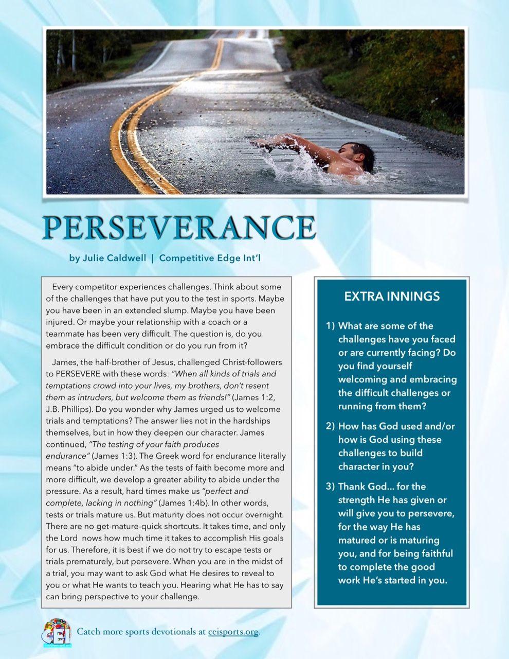 Sports Devotional Perseverance Ceisports Sportsdevo Yourwordislife2me Relationship Coach Perseverance Life