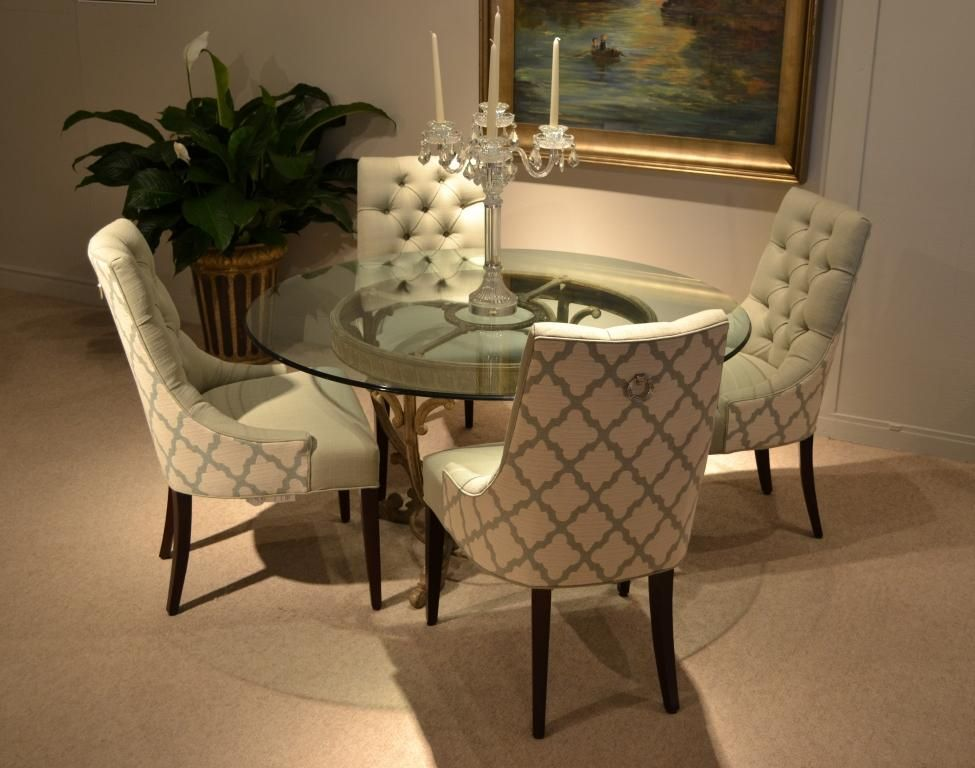 Saybrook 01 554 Tufted Back Hostess Chairs With Nickel Pull Ring