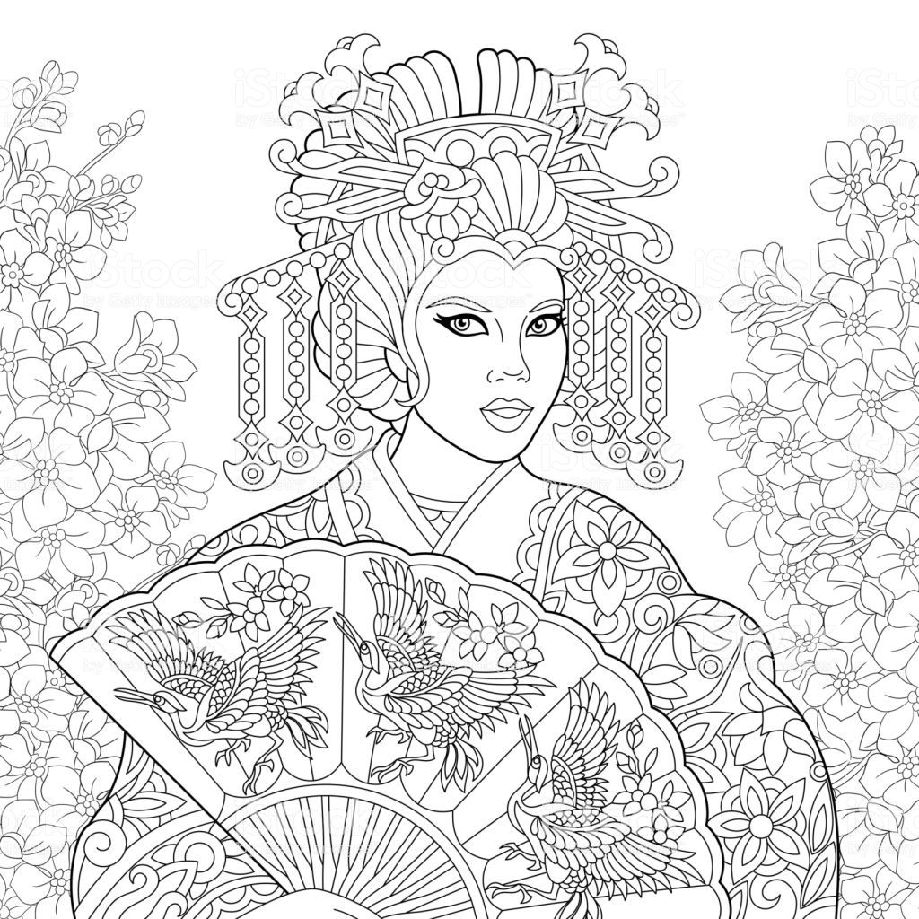 Coloring Page Of Geisha Woman In Flower Garden Freehand Sketch