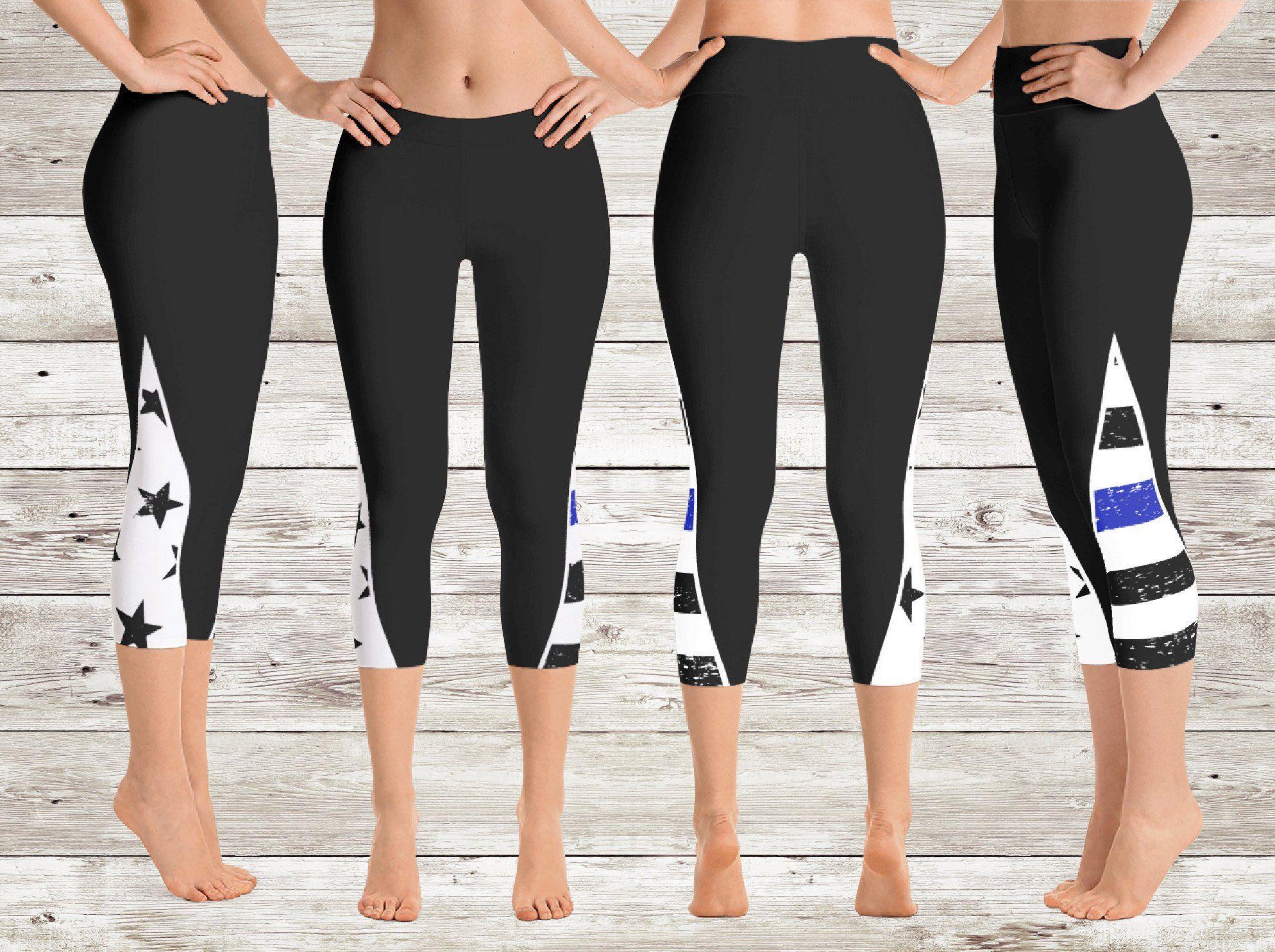 Thin Blue Line Capri Leggings - Back the Blue Leggings - Blue Lives Matter Yoga  Pants - Thin Blue Line Workout Gear - Thin Blue Line Apparel 4cdb67c92