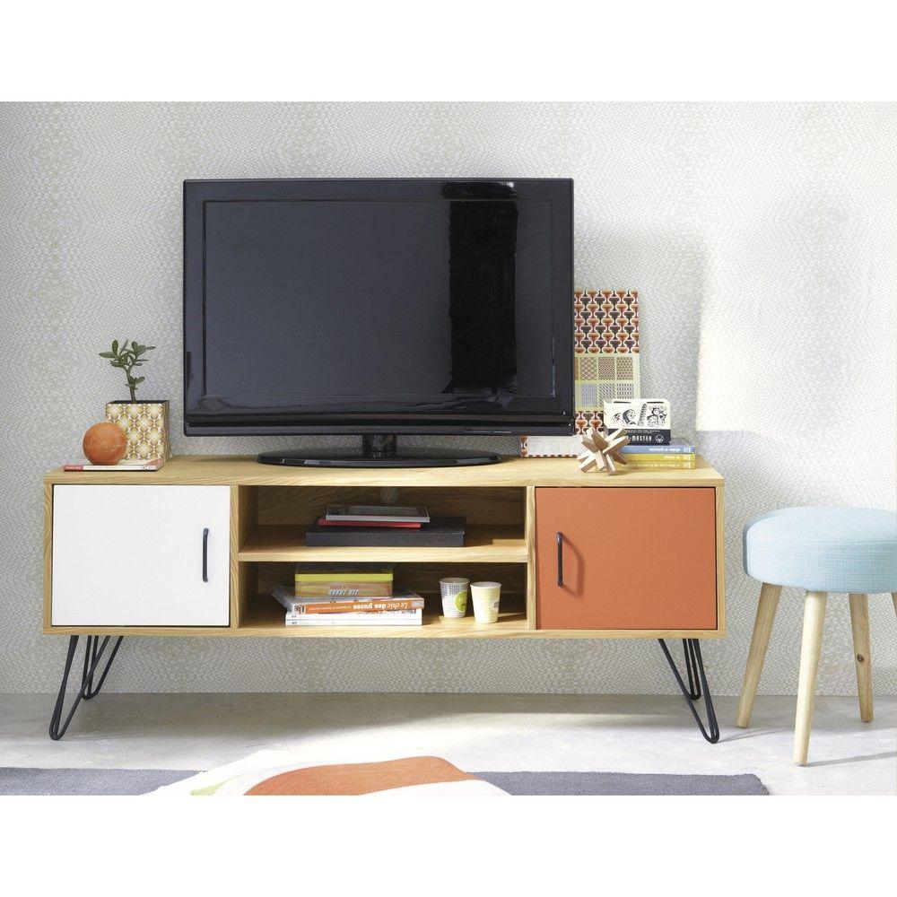 Porta-TV vintage a 2 ante bianco e arancione | Chambre scandinave ...