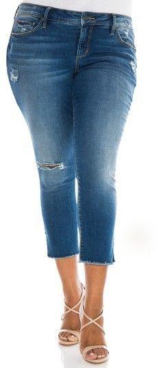 bb3063ef940e6 SLINK Jeans Frayed Crop Skinny Jeans