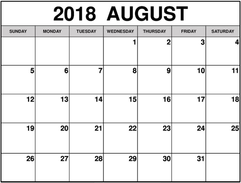august excel calendar 2018