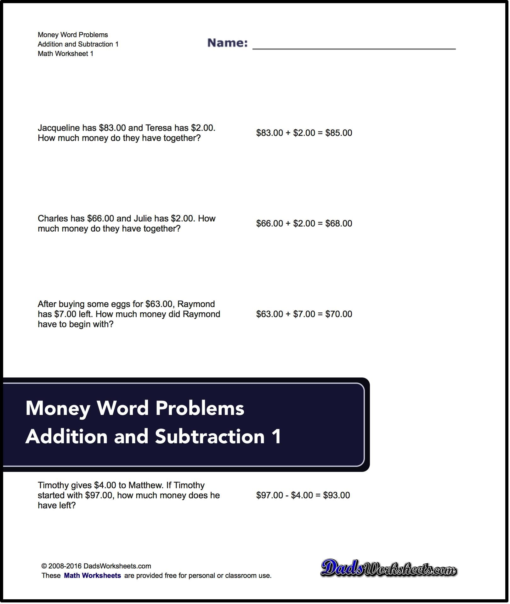 small resolution of Free printable addition and subtraction word problems for money. All with  answer keys!   Word problems