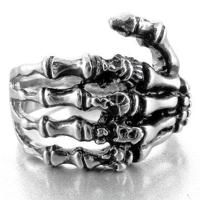 JBlue Jewelry Men's Stainless Steel Ring Band Silver Black Skull Hand Bone Gothic (with Gift Bag)