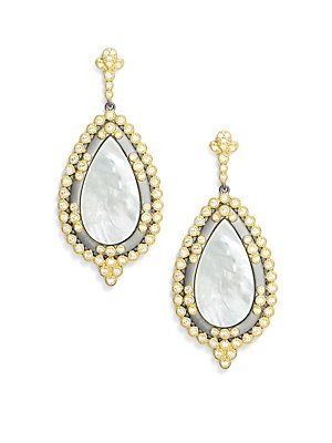 FREIDA ROTHMAN Cubic Zirconia, Mother-Of-Pearl & 14K Gold-Plated S