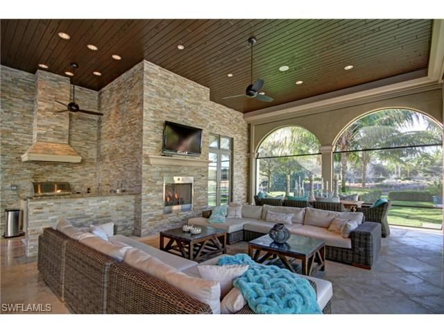 2562 Escada Ct Naples Fl 34109 Incredible Outdoor Living Room Fire Place Tv Bar And Kitchen All Outdoor Living Room Outdoor Living Space Estate Homes