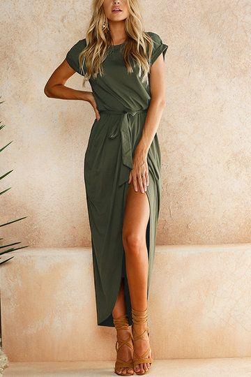 Legergroene Maxi Jurk.Army Green Short Sleeves Splited Hem Maxi Dress Us 21 95 Yoins