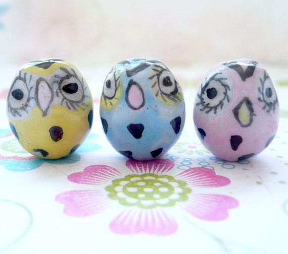 Porcelain Owl Beads  5 by jewelry56 on Etsy, $4.00