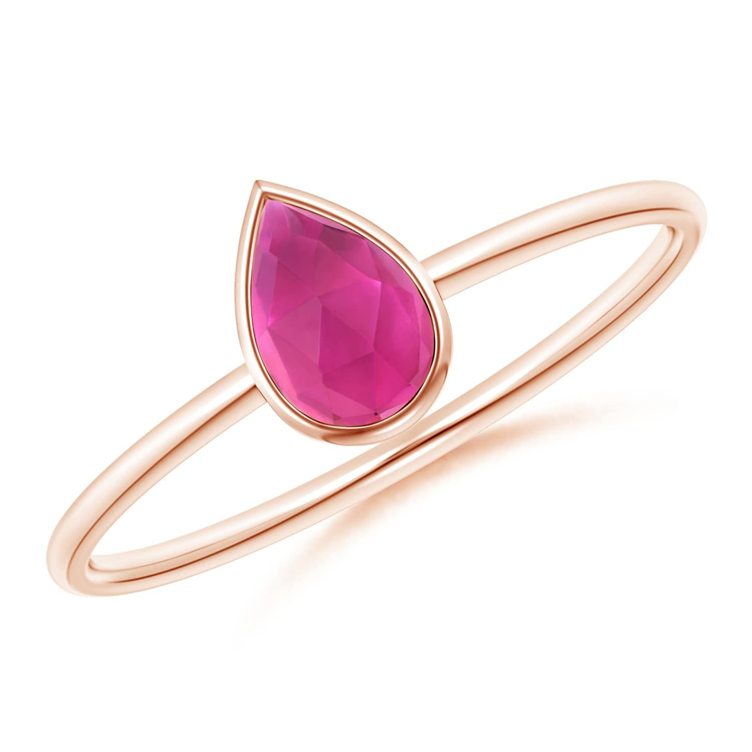 Angara Pink Tourmaline Solitaire Ring in 14K Yellow Gold N9A1ER