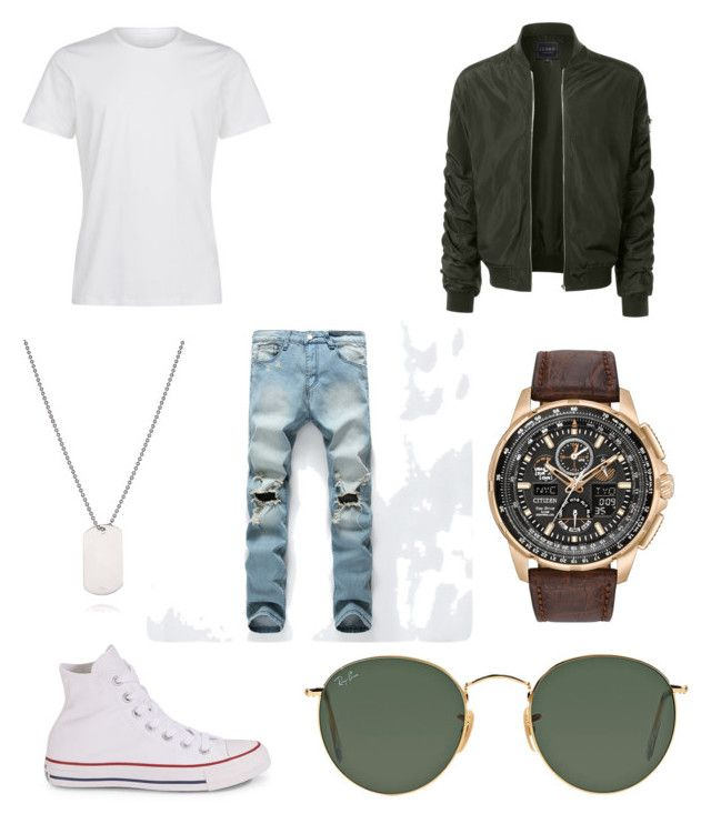 """""""YouTuber modeling"""" by natalie1027 on Polyvore featuring LE3NO, Converse, Ray-Ban, Citizen, men's fashion and menswear"""