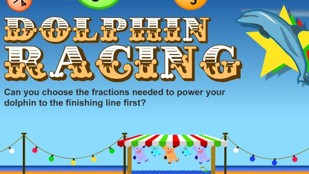 Fraction Dolphin Racing - Choose the largest fraction to make your dolphin swim faster to win.