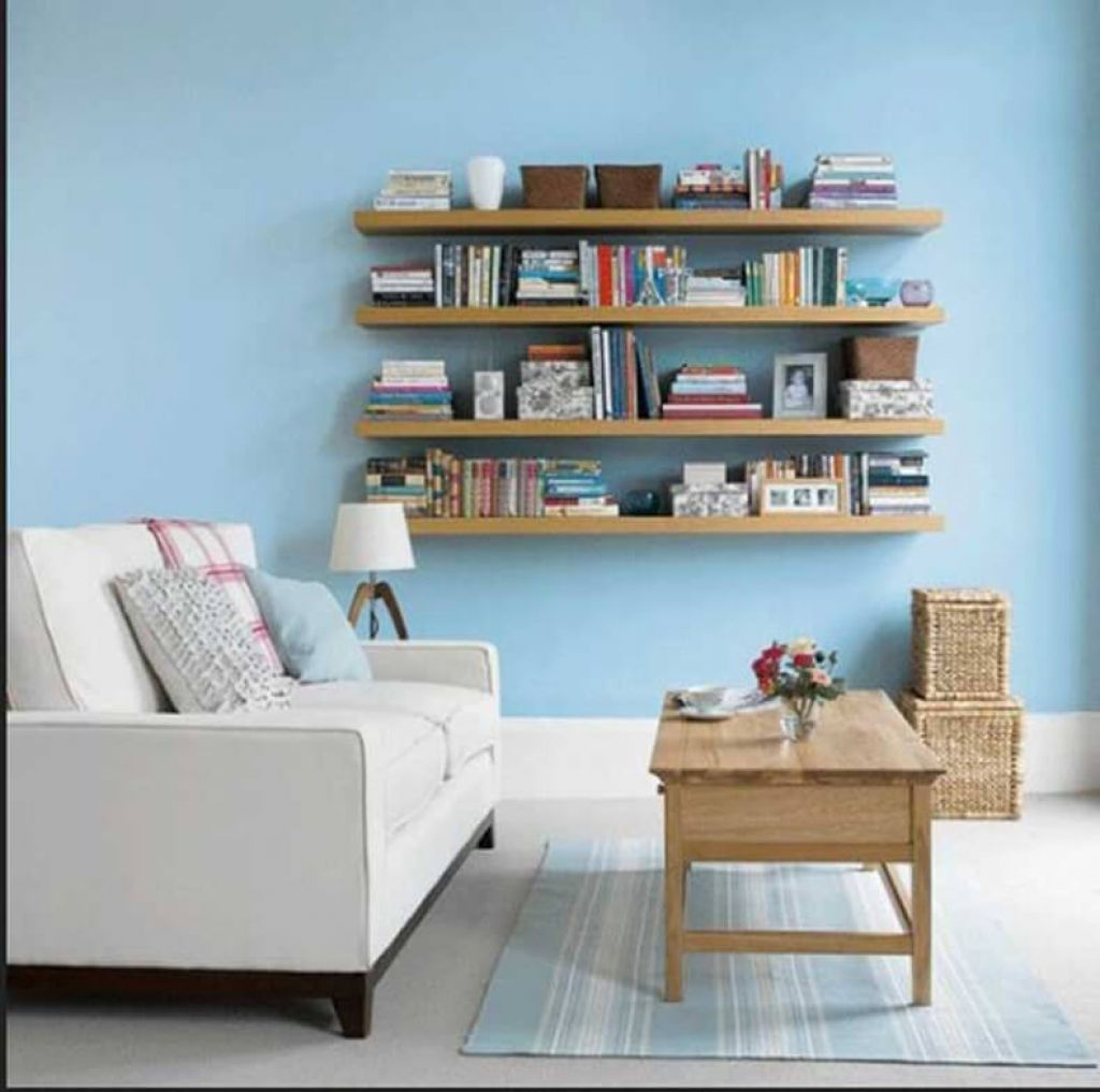 Living Room With Wooden Floating Shelves Ways To Creating Floating ...