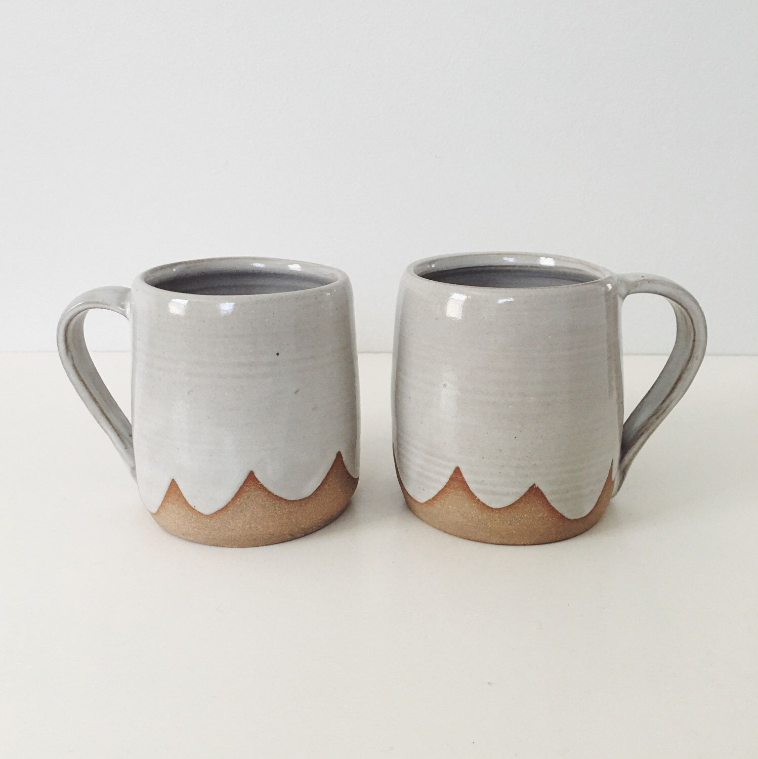 Pair Of Cloud Ceramic Mugs White Wheel Thrown Coffee Cup Mug Stoneware