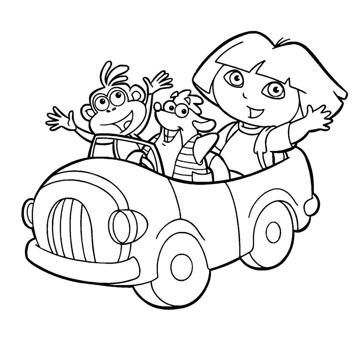 pintar Dibujo para colorear Dora la exploradora en coche, colorear ...