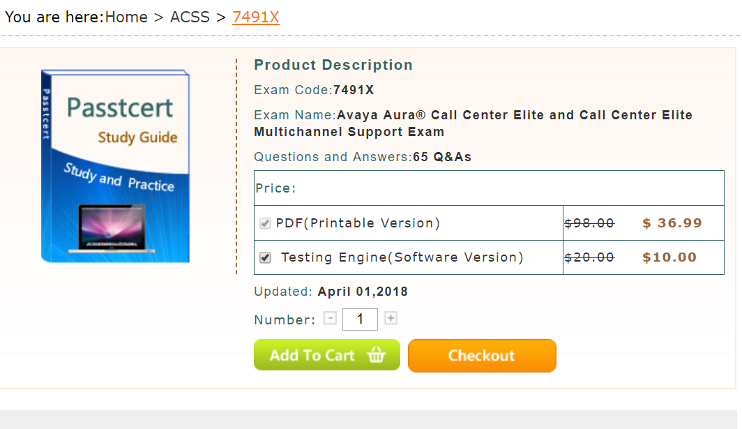 In real Avaya ACSS 7491X exam, there are 65 questions  You