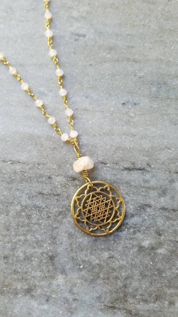 Rose Quartz Sri Yantra Mala Necklace // Rose Quartz Necklace // Rose Quartz Jewelry // Sacred Geomet #quartznecklace