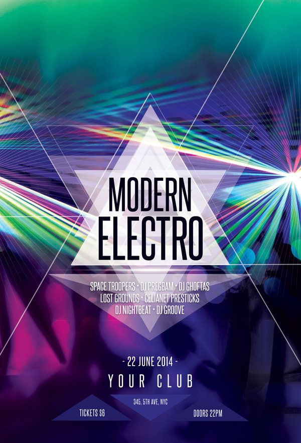 Modern Electro Flyer  Electro Music Psd Templates And Template
