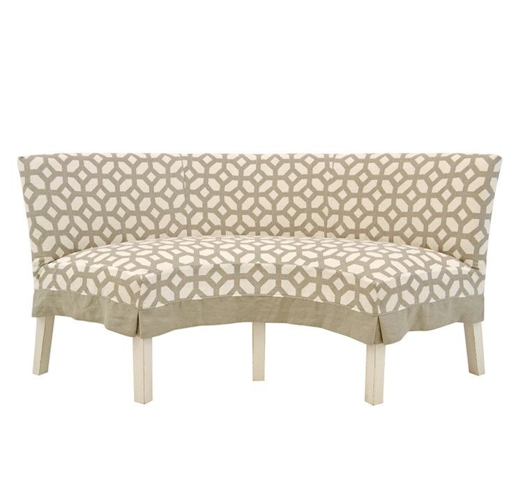 Fantastic Quatrine Slipcovered Half Circle Dining Bench Dining Ncnpc Chair Design For Home Ncnpcorg