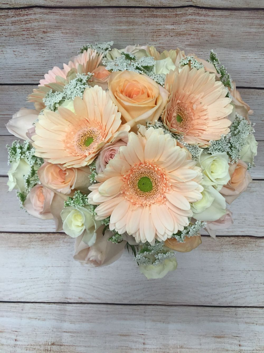 Light Peach Coral Gerbera Daisy White Rose Wedding Bouquet