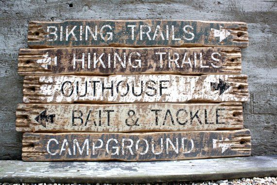 Wood Log Cabin Signs, Hiking Trail Sign, Biking Sign, Outhouse Sign, Campground, Camping Sign, Fishing Sign, Bait & Tackle Sign, Lodge Decor#bait #biking #cabin #campground #camping #decor #fishing #hiking #lodge #log #outhouse #sign #signs #tackle #trail #wood