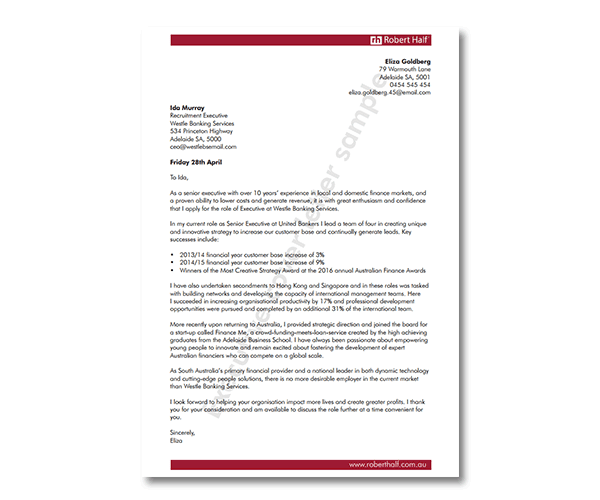 Accounting cover letter template | Robert Half in 2020 ...
