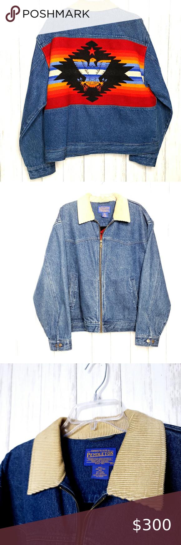 Vintage Pendleton Denim Jacket In 2021 Denim Sweater Jacket Vintage Denim Fashion [ 1740 x 580 Pixel ]
